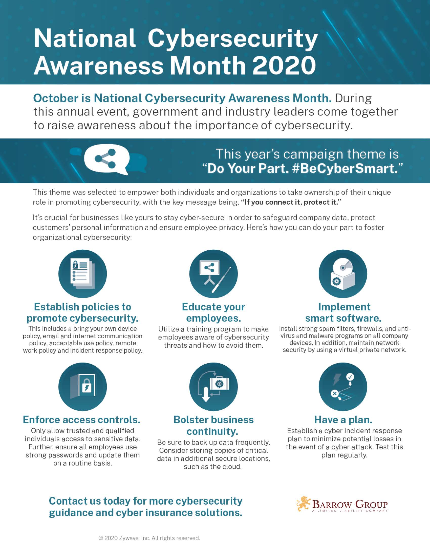 Cybersecurity Awareness Month 2020 Infographic